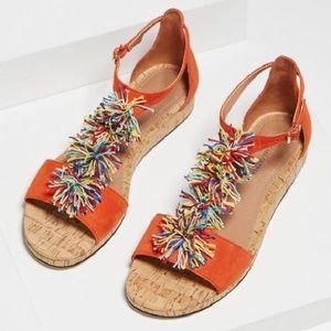 BCBG Women's Delfina Pom-pom T-strap Sandals